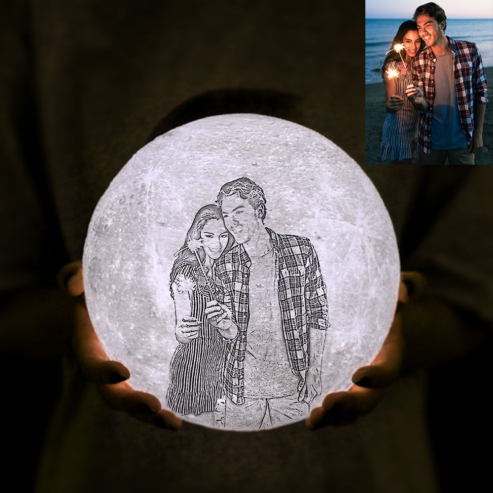Customized Photo 3d Printing Moon Lamp Flashlight With Remote Touch Control Getnamenecklace Photo Engraving Christmas Gifts For Couples Valentines Gifts For Boyfriend