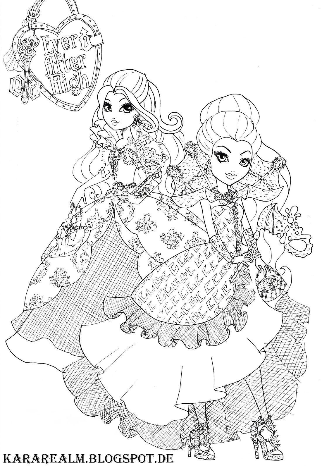 kara realm ever after high coloring pages coloring pages