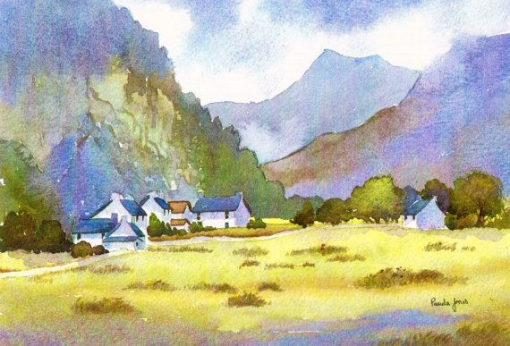 Limited Edition Watercolour Print Cottages Nant Peris Snowdonia