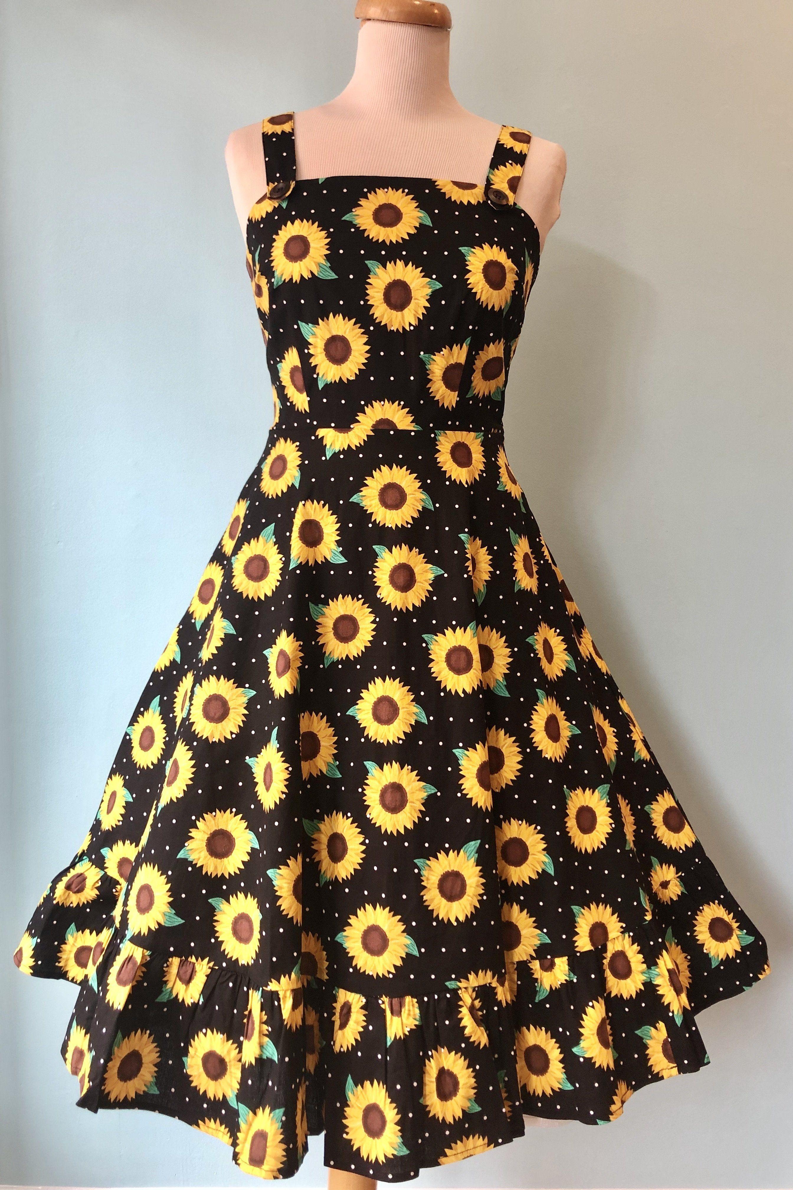 Maggie Sunflower Dress By Collectif Modern Millie Shop Dresses Sunflower Dress Cute Dresses [ 4032 x 2688 Pixel ]