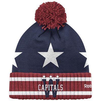 448aa5a6590615 Mens Washington Capitals Reebok Navy Blue 2015 Winter Classic Goalie Cuffed  Knit Hat