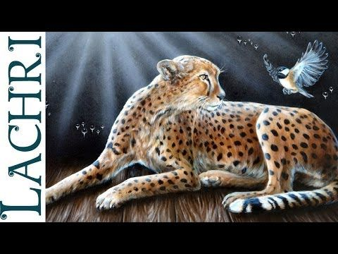 Speed painting surreal Cheetah oil over acrylic - Time Lapse demo by Lachri - YouTube