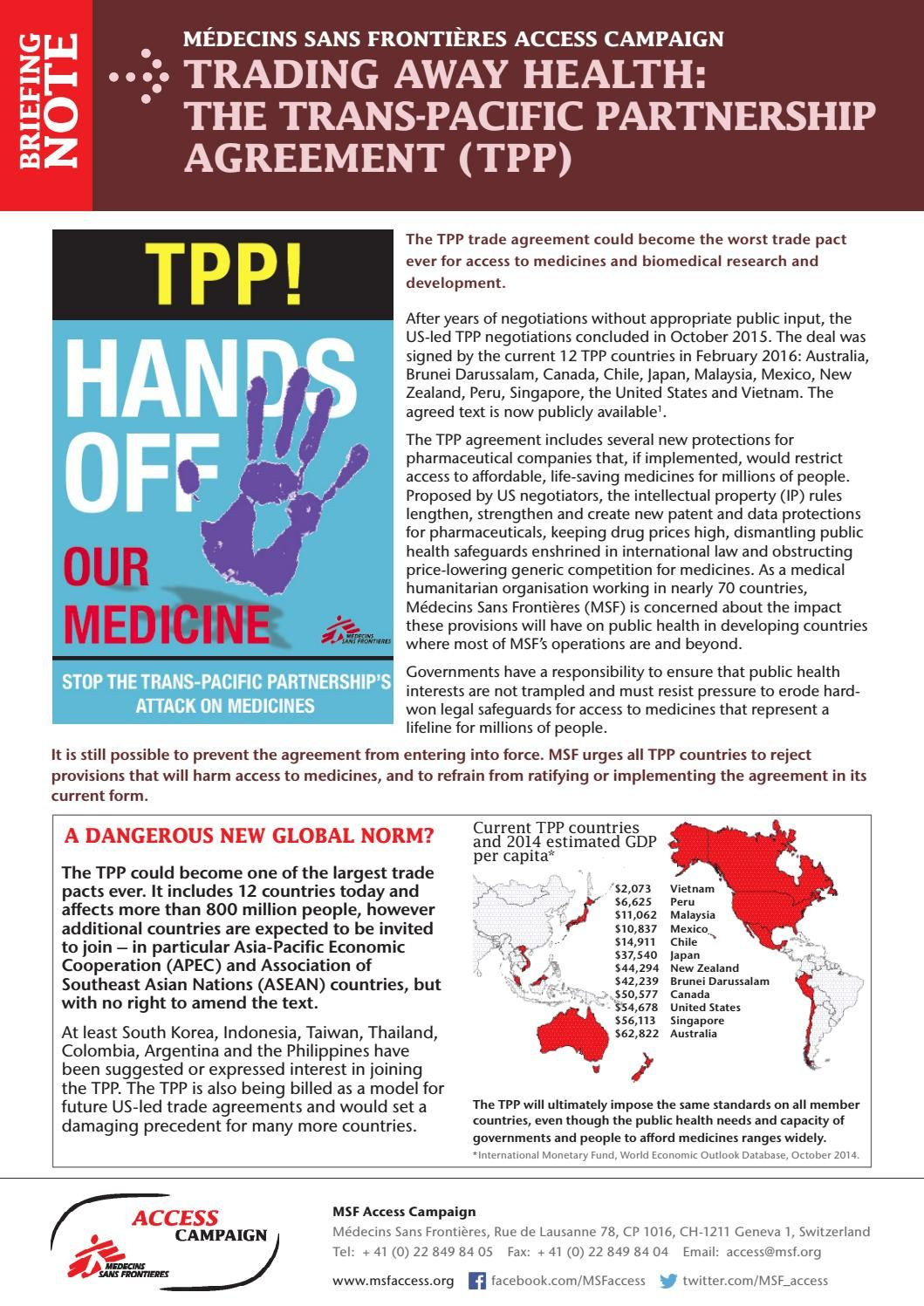 Briefing Note Trading Away Health The Trans Pacific Partnership