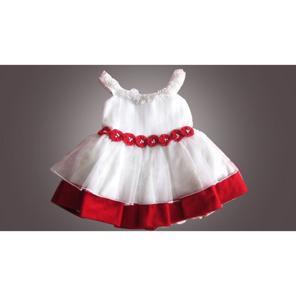 Fashionable Red and White Infant Party Dress in Shimmery Net ...