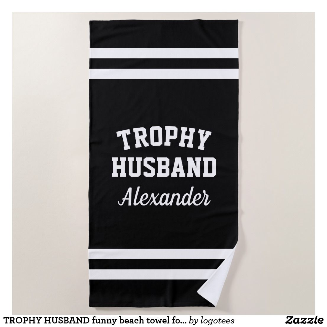 Trophy Husband Funny Beach Towel For Men Zazzle Com Funny