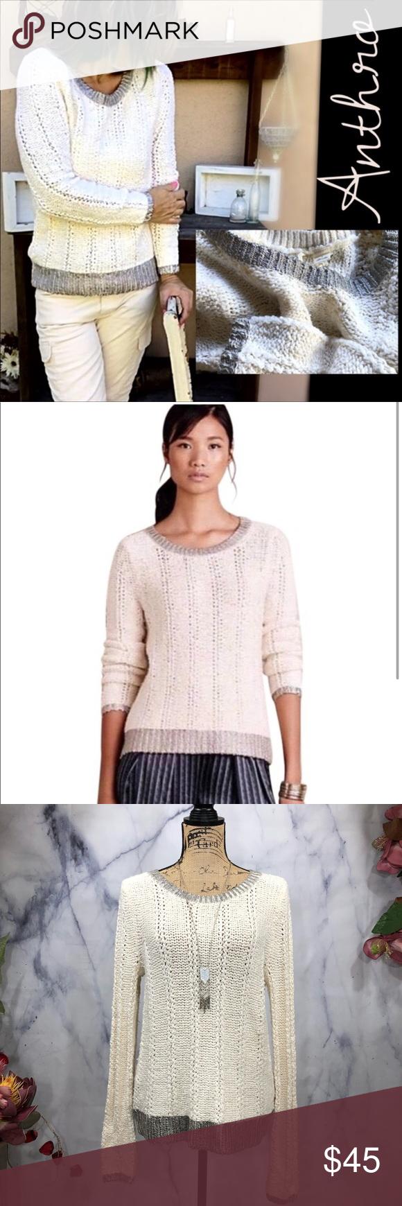 7a393d49676 Anthropologie-Moth-Wool Blend Silver Trim Sweater Anthropologie-Moth-Wool  Blend Silver