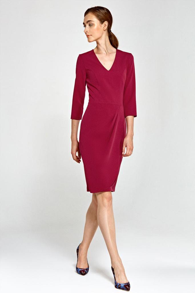 Robe décolletée, avec jupe tulipe portefeuille