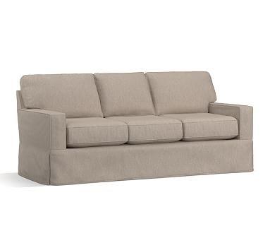 "Buchanan Square Arm Slipcovered Sofa 83.5"", Polyester Wrapped Cushions, Sunbrella(R) Performance Sahara Weave Mushroom"