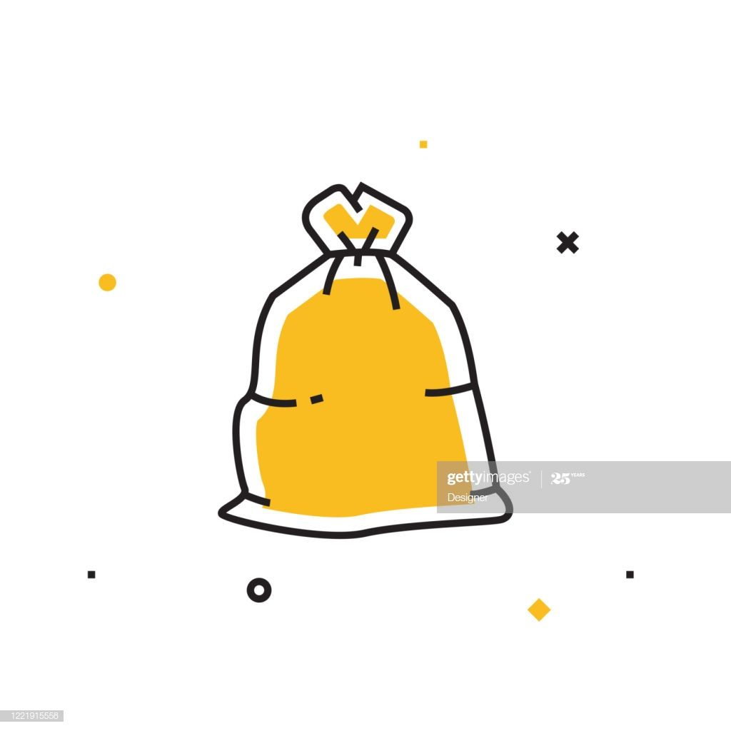 Garbage Bag Line Icon Outline Vector Symbol Illustration Bag Illustration Garbage Bag Line Icon