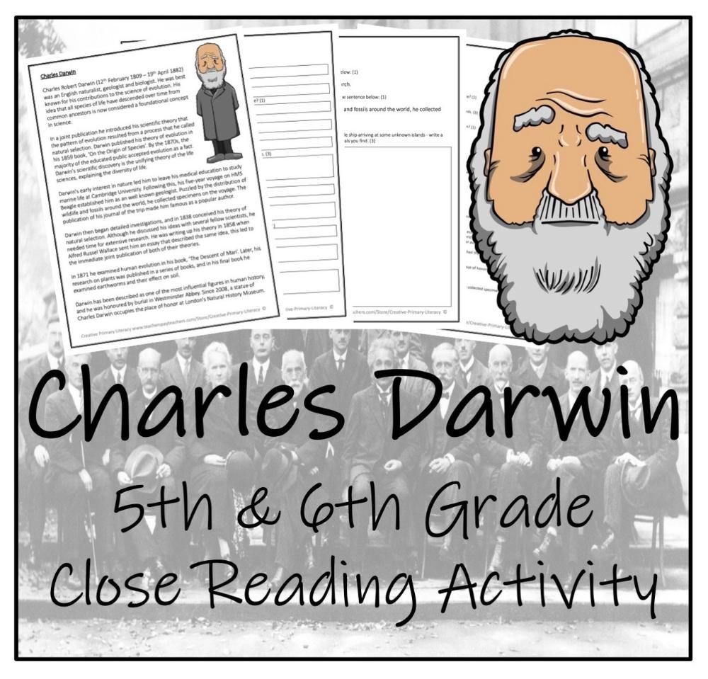 Charles Darwin 5th 6th Grade Close Reading Activity Close Reading Activities Reading Activities Close Reading [ 959 x 1000 Pixel ]