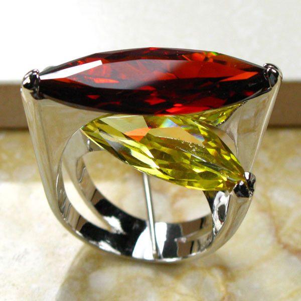 Enorme Garnet Citrino 925 Sterling Silver Ring Size 6 7 8 9 10 R95