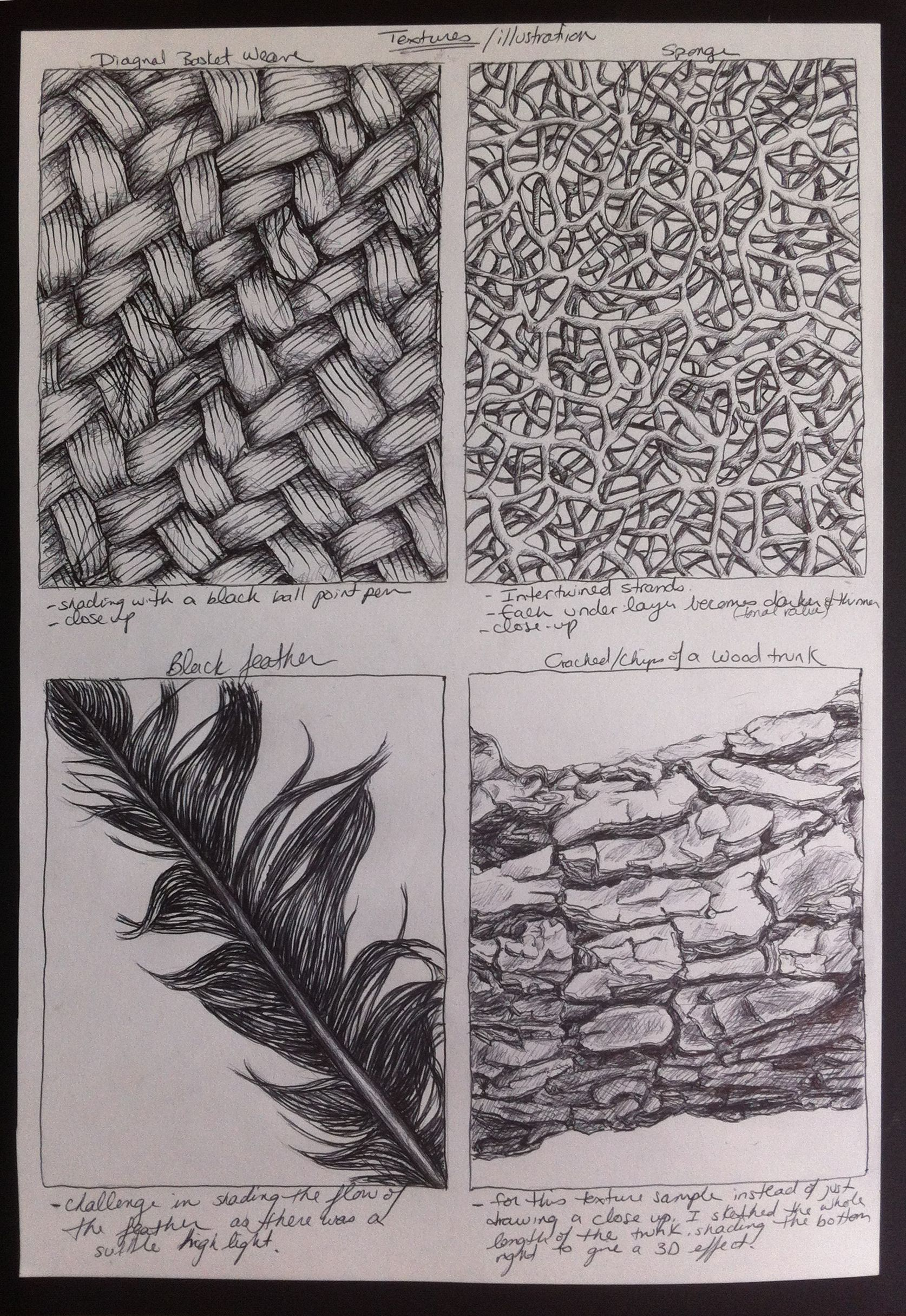 Organic Texture Drawing Exercise Charcoal