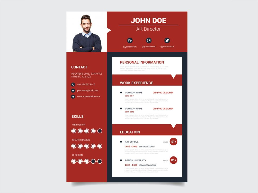 Free Modern Red Resume Template With Casual Design Resume Template Resume Design Template Resume Template Free