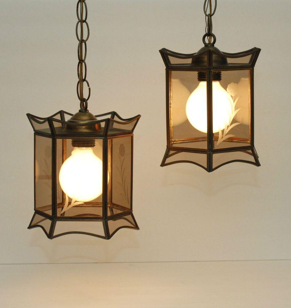Captivating Vintage Asian Pagoda Swag Lamp Light Hanging Entry Mid Century Smoked  Hollywood