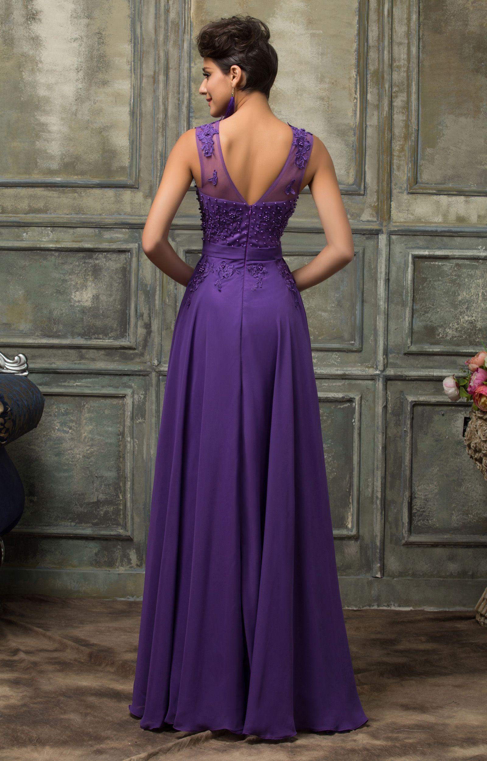 Купить фиолетовое длинное платье для полных на корпоратив или выпус ...
