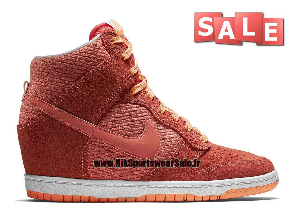 50b493aedaf50 Nike Wmns Dunk Sky Hi Essential - Chaussure Montante Nike Pas Cher Pour  Femme Fille Rouge lave brillant Crépuscule brillant Blanc 644877-602