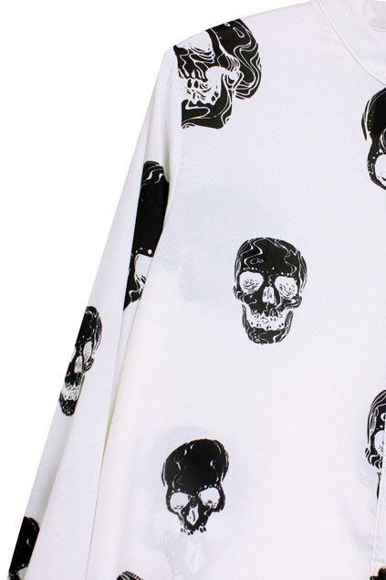 Asymmetric Skull Print White Shirt