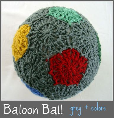 Crochet ballon ball - hexagon and pentagon motifs to emulate a soccer ball for play in the house - free pattern #kids_toys