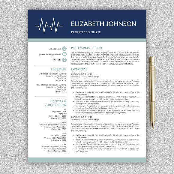 Nurse Resume Medical CV Template by ProGraphicDesign on - graphic design student resume