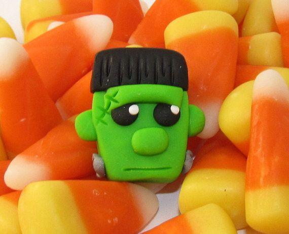 Frankenstein's Monster - polymer clay Bead Bow Center - handsculpted