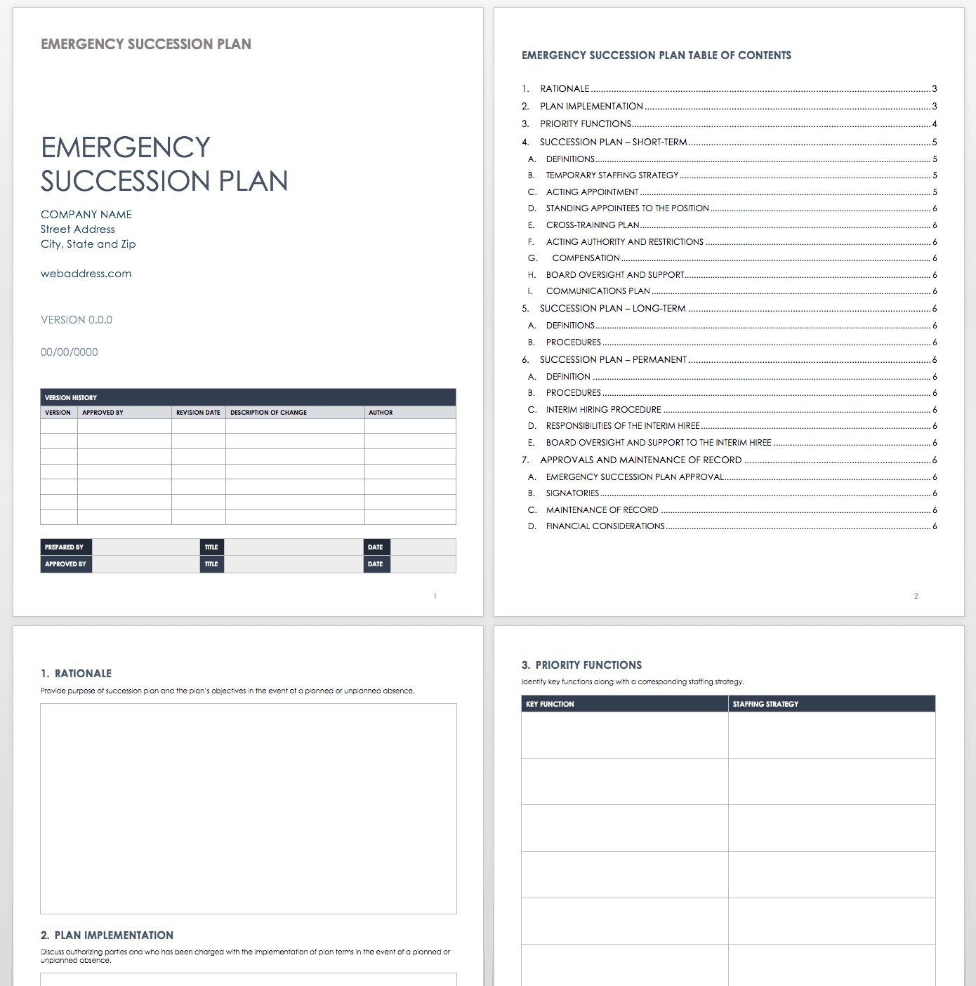 Free Succession Planning Templates Smartsheet with