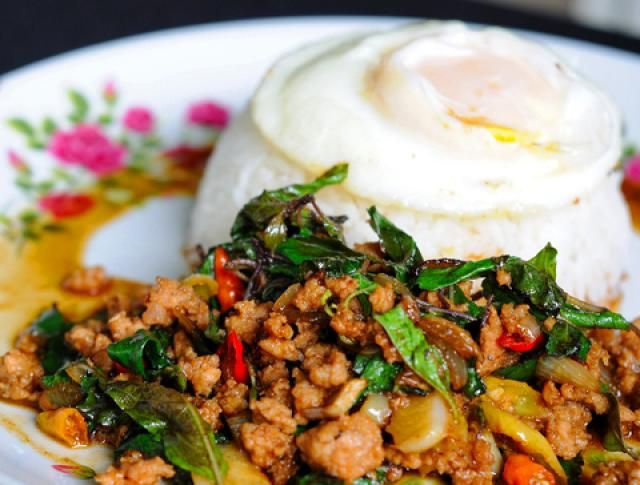Authentic Thai Stir Fried Pork With Lime And Mint Recipe Pork Dishes Mint Recipes Pork Recipes