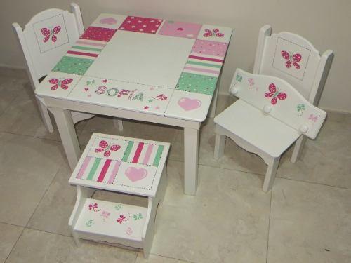 Mesas y sillas infantiles suerte para ti madera pintada for Mesas para ninos en walmart