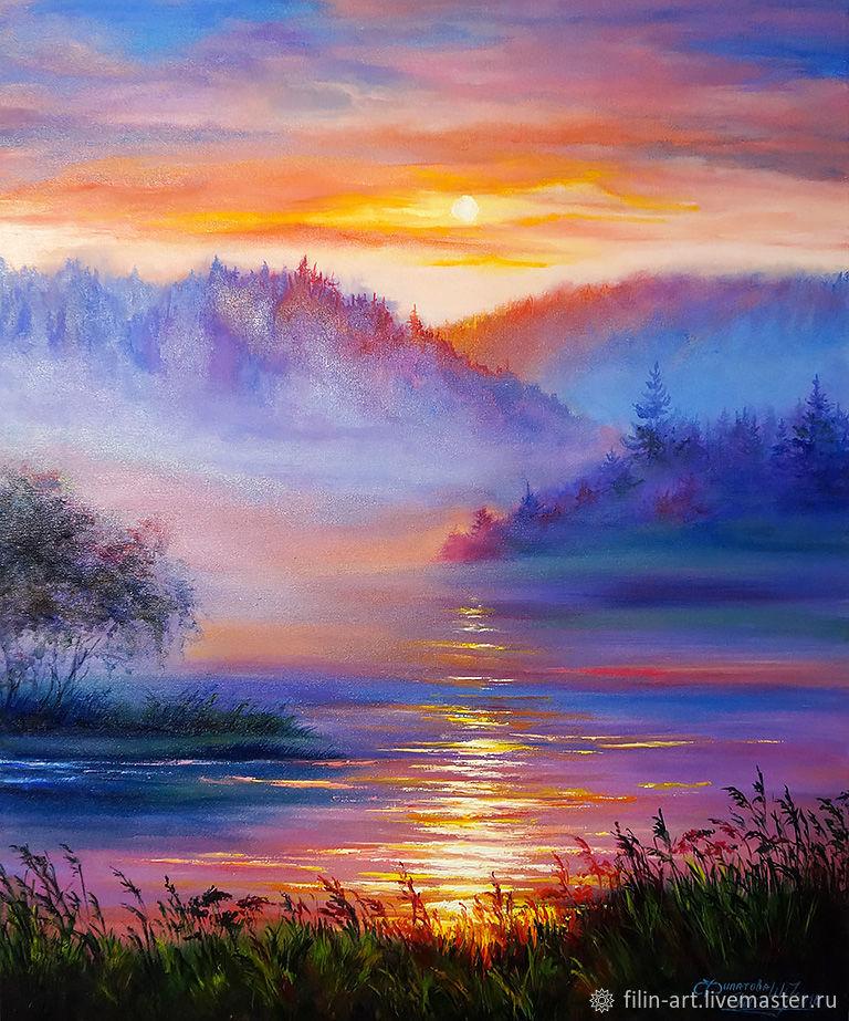 Landscape Oil Painting On Canvas Sunset In The Fog Zakazat Na Yarmarke Masterov G7fi3com Kartiny Minsk In 2020 Oil Painting Landscape Landscape Paintings Oil Painting On Canvas
