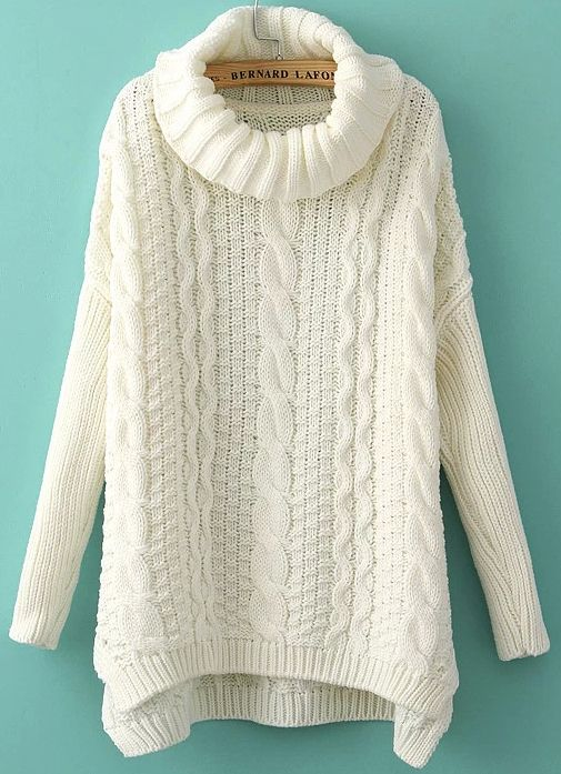 White Plain Irregular Pullover | Cable knit sweaters, Cable ...