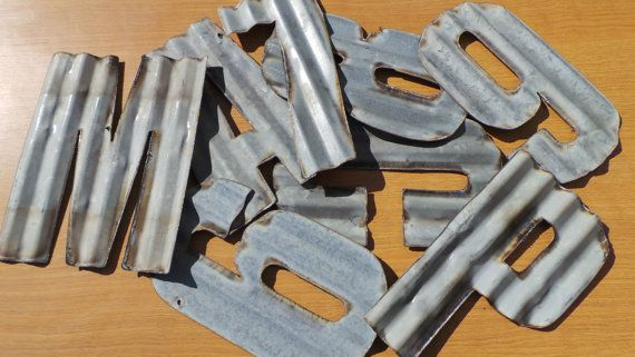 These Are Recycled Corrugated Metal 10 Letters A Z And Numbers 0 9 Please Allow For Differences In The Metal Be Corrugated Metal Metal Letters Sheet Metal Art