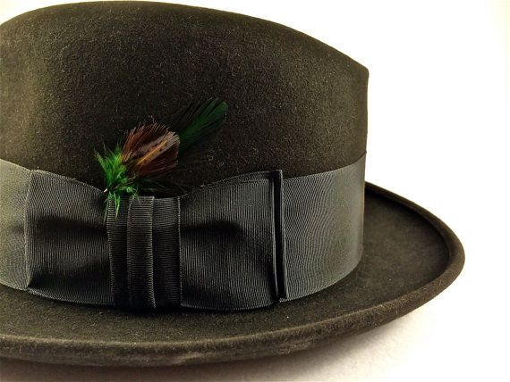 Items similar to Vintage Sutton Park Black Fedora Hat with Brown - Green - Yellow Feather and Black Satin Ribbon - New York on Etsy