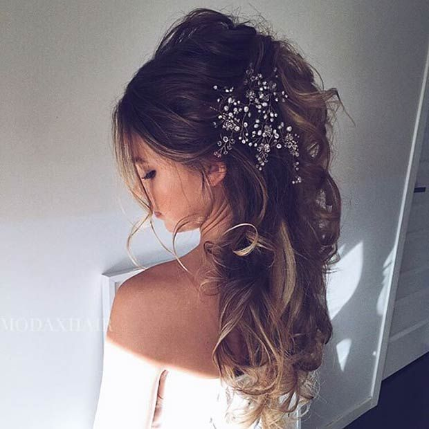 Messy Half Updo Big Hair Accessory Vintage Wedding Hair
