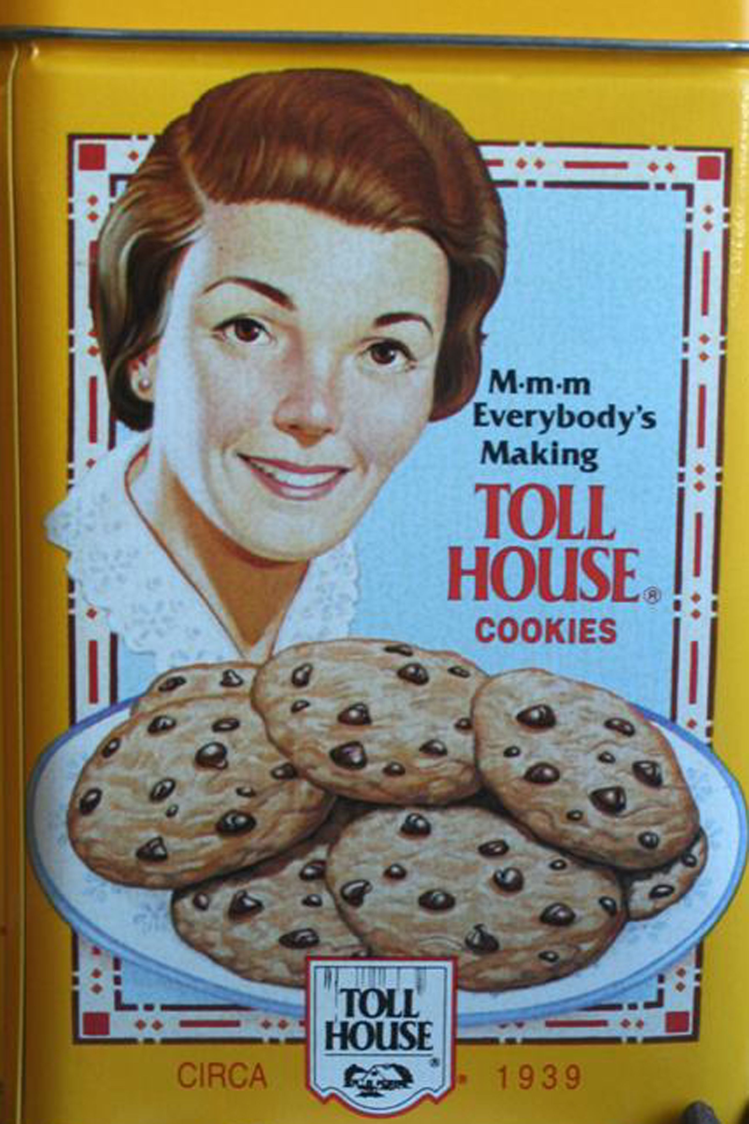 Yellow Nestle Tin From 1939 Tollhouse Chocolate Chip Cookies
