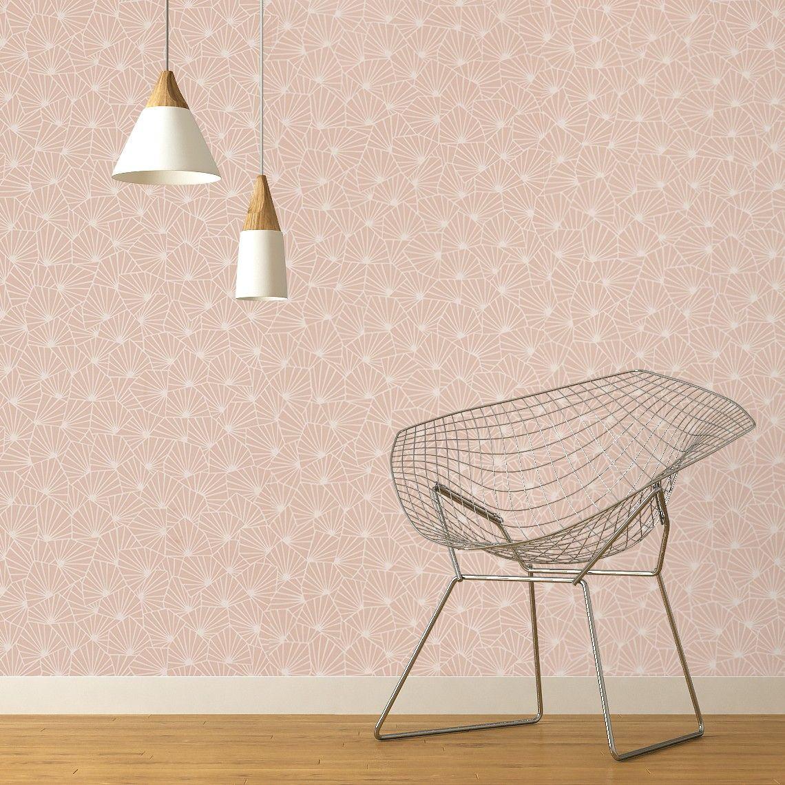 Papier Peint Sacha 100 Intisse Motif Graphique Rose Poudre