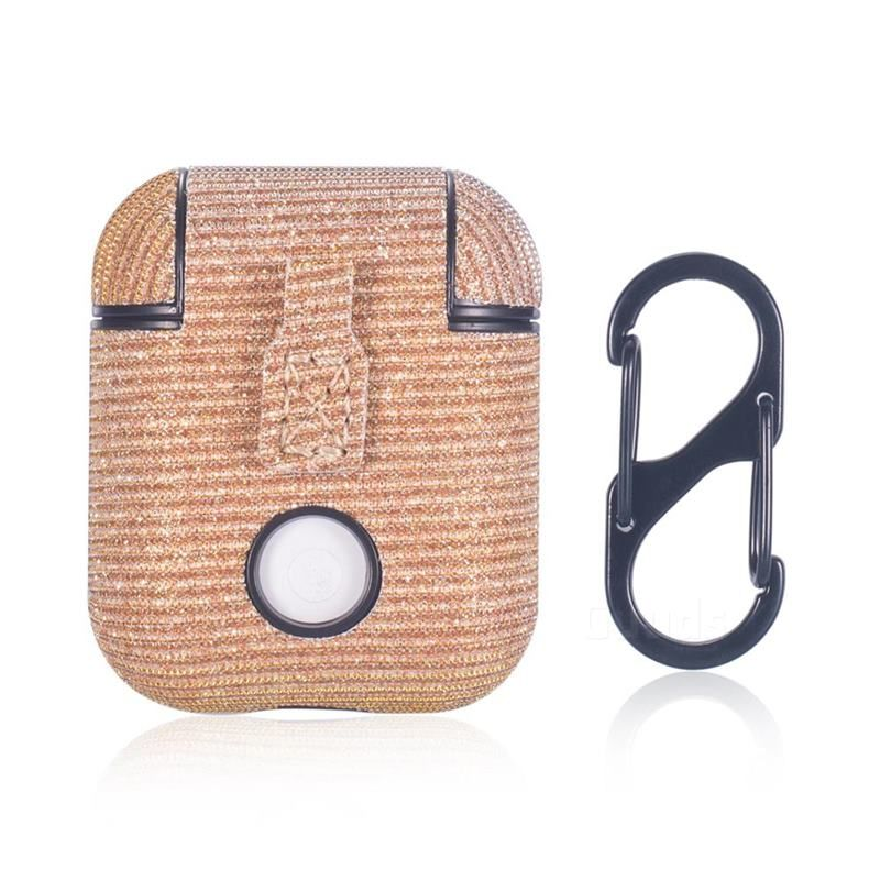 Sequin PU Leather Case for Apple AirPods - Golden in 2019