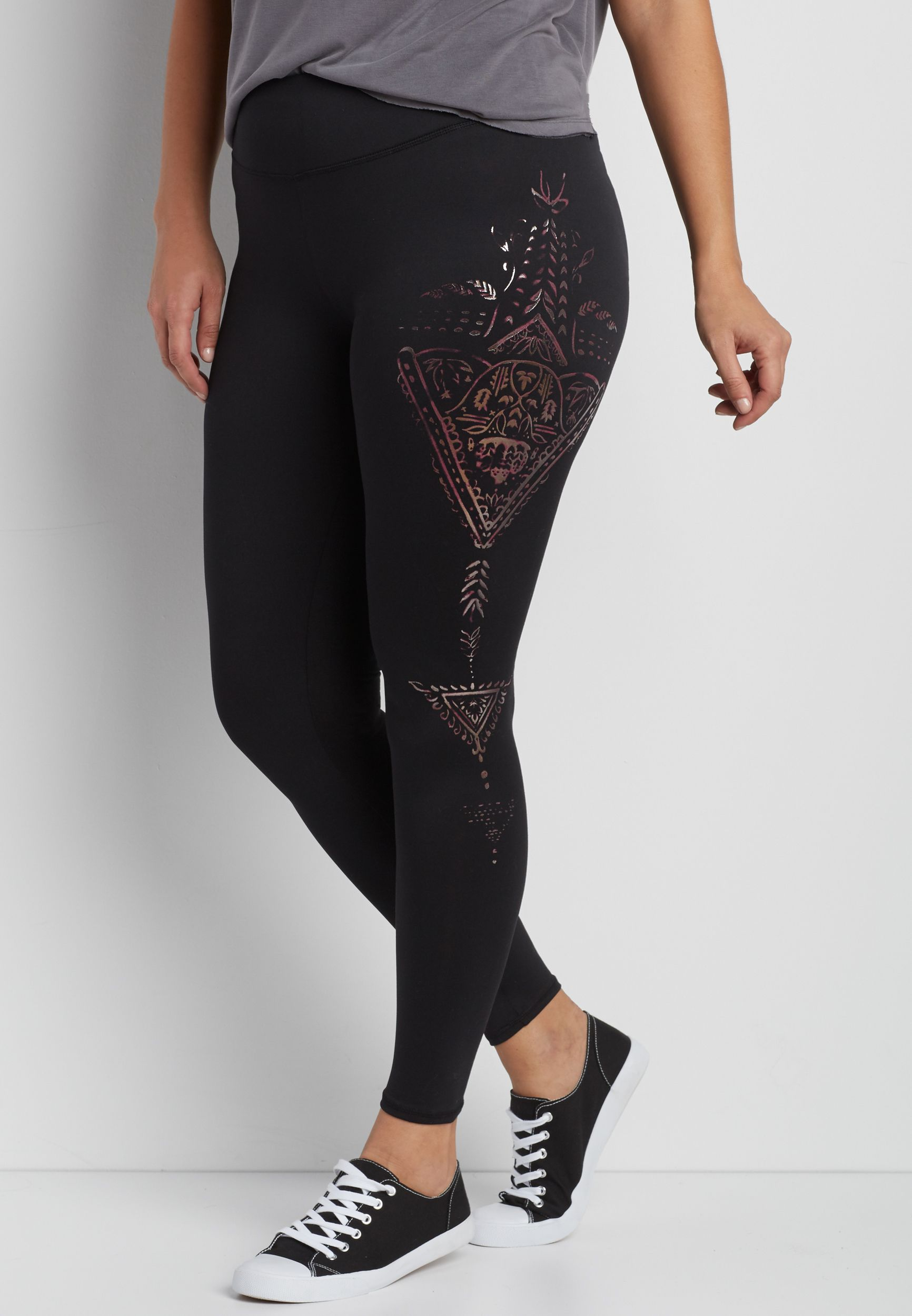 8e3801c6a08 plus size legging with metallic graphic side