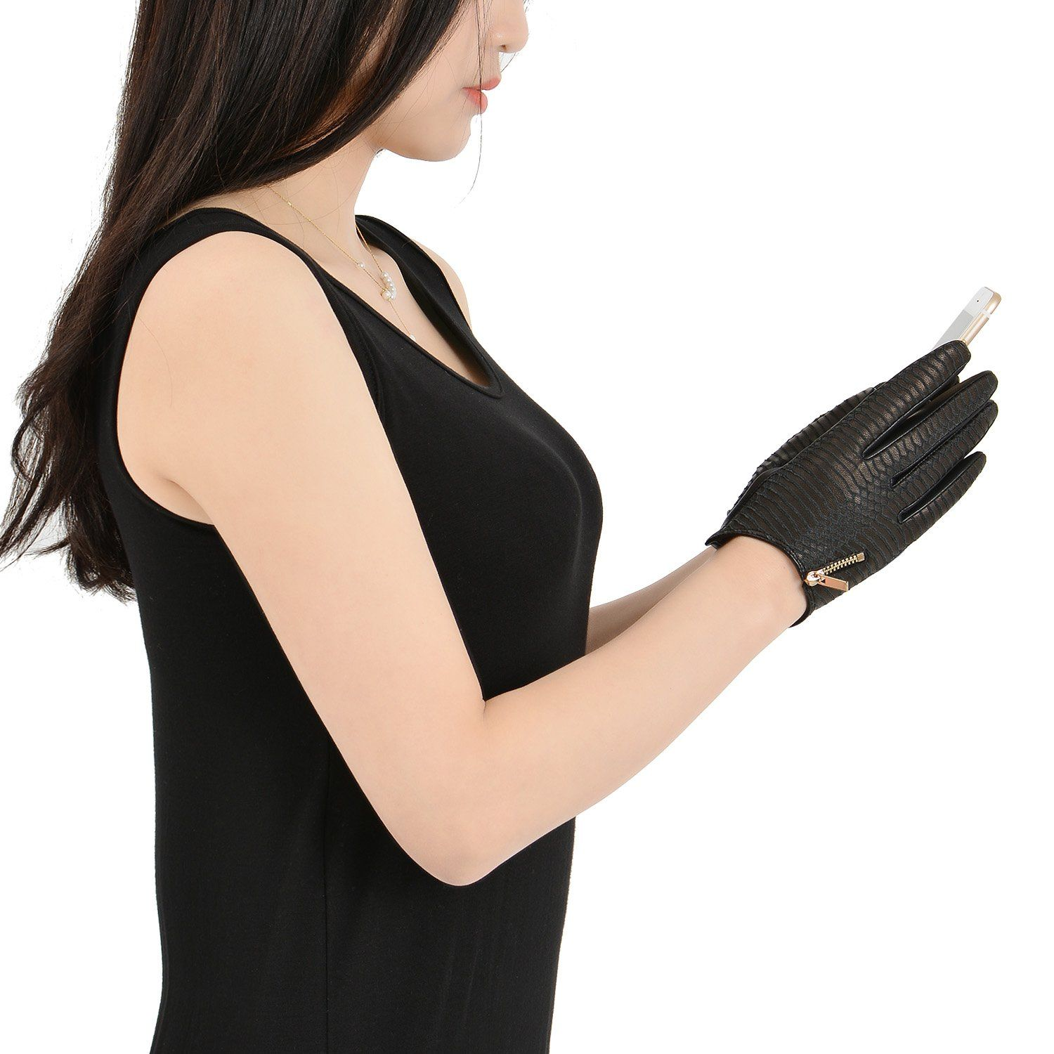 Leather driving gloves with zipper - Fioretto Womens Winter Sexy Snake Leather Driving Gloves Motorcycle Gloves With Metal Zipper Slim Fitting