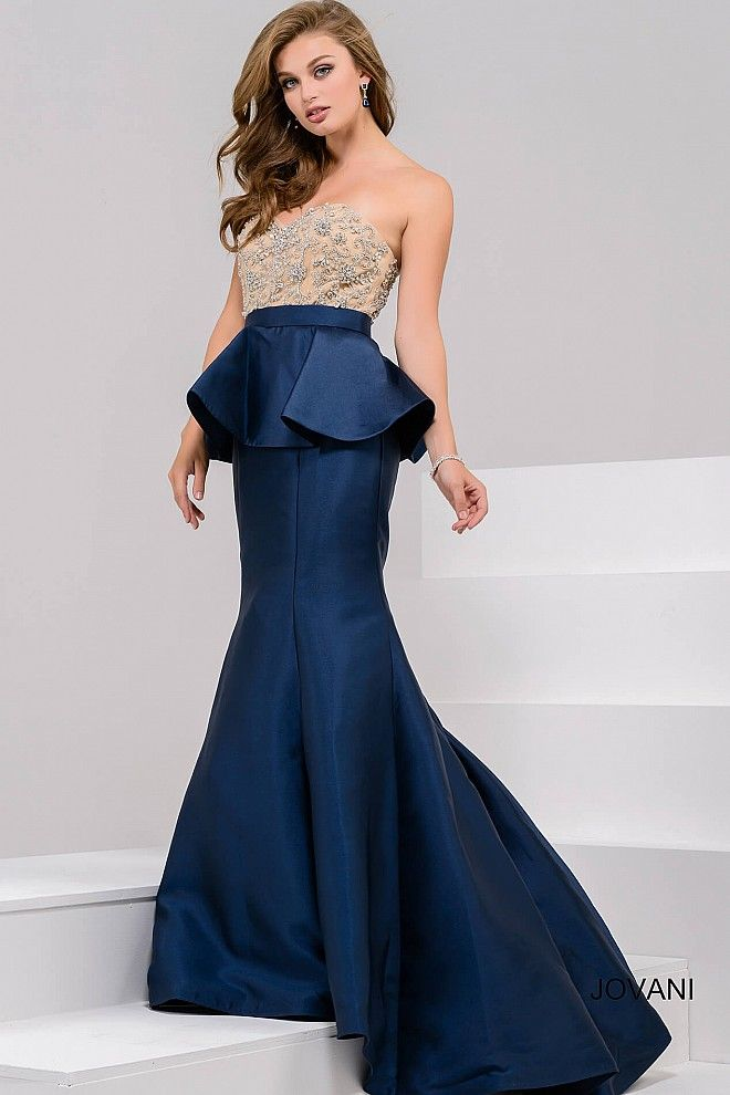 9067c7a8f3318 Navy Embellished Strapless Bodice Mermaid Evening Gown 33320 in 2019 ...