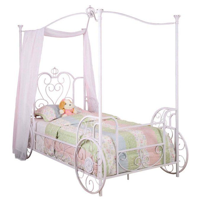 Princess Emily Carriage Canopy Bed with Bed Frame