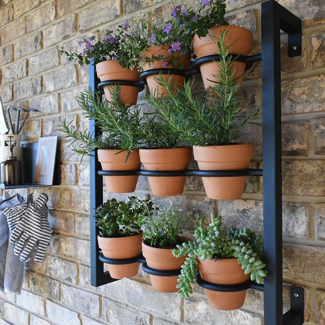 Hanging planter, indoor/outdoor herb garden, Hanging herb garden, fixer upper inspired 9 pot wall hanging herb garden
