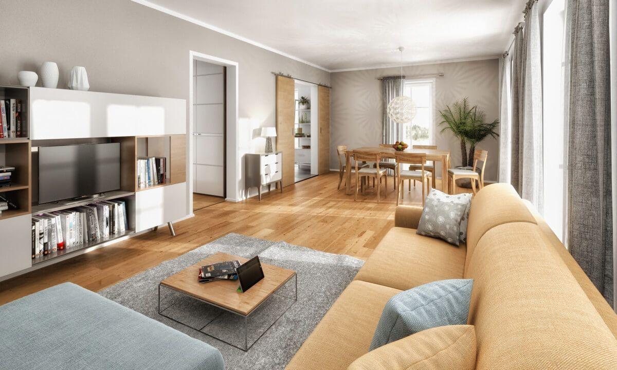 Modernes Wohnzimmer   Ideen Inneneinrichtung Haus Bodensee 129 Trend Von  Town U0026 Country Massivhaus   HausbauDirekt