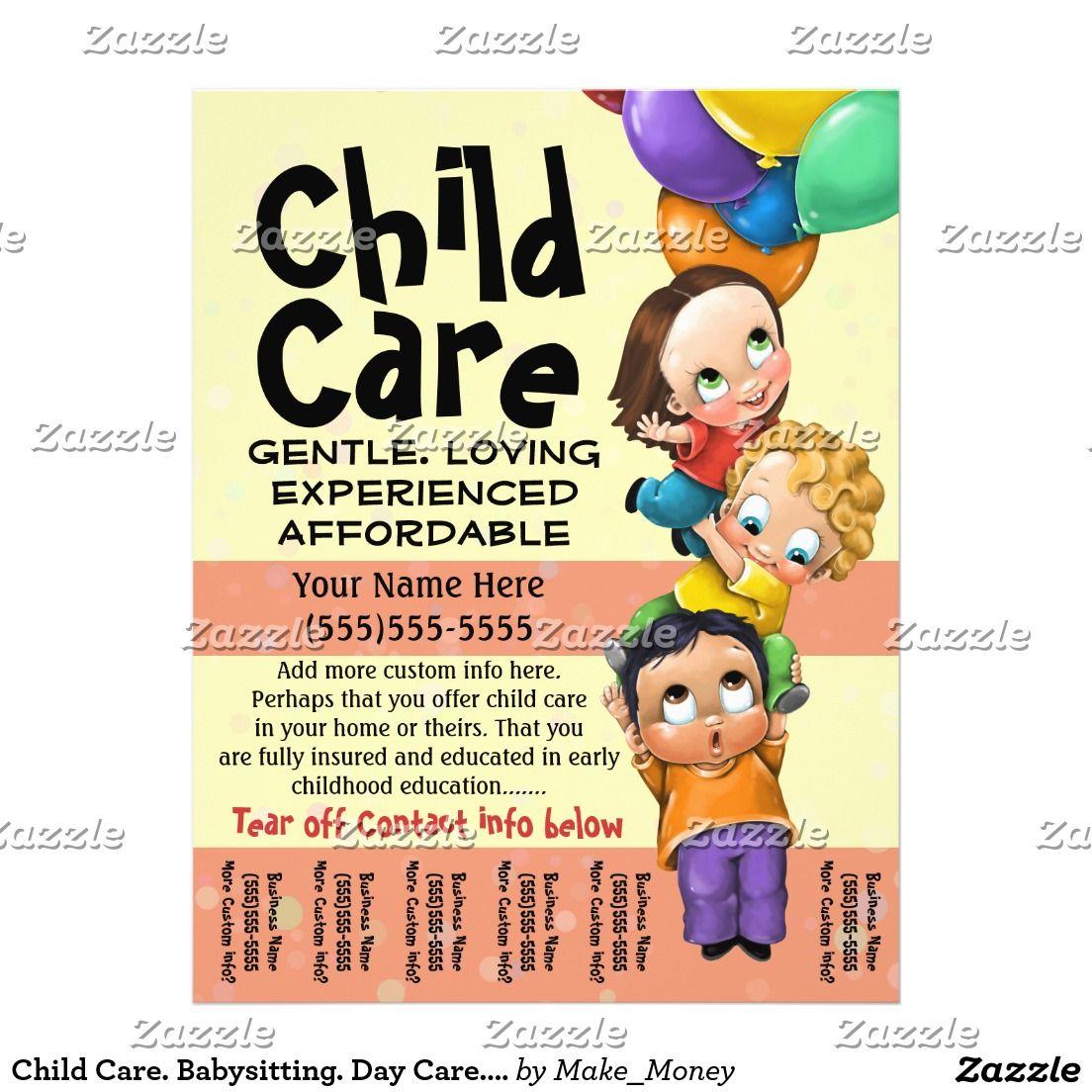 child care  babysitting  day care  tear sheet custom flyer