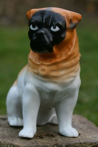 Superb 19th C Seated Open Legged Porcelain Pug Dog Of French
