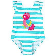 Buy John Lewis Stripe Parrot Swimsuit, Aqua/White Online at johnlewis.com