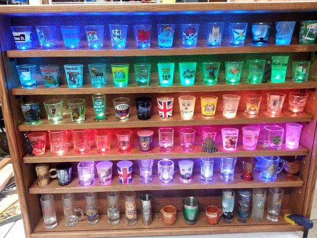 Illuminated Shot Glass Shelf Organize And Storage Shot