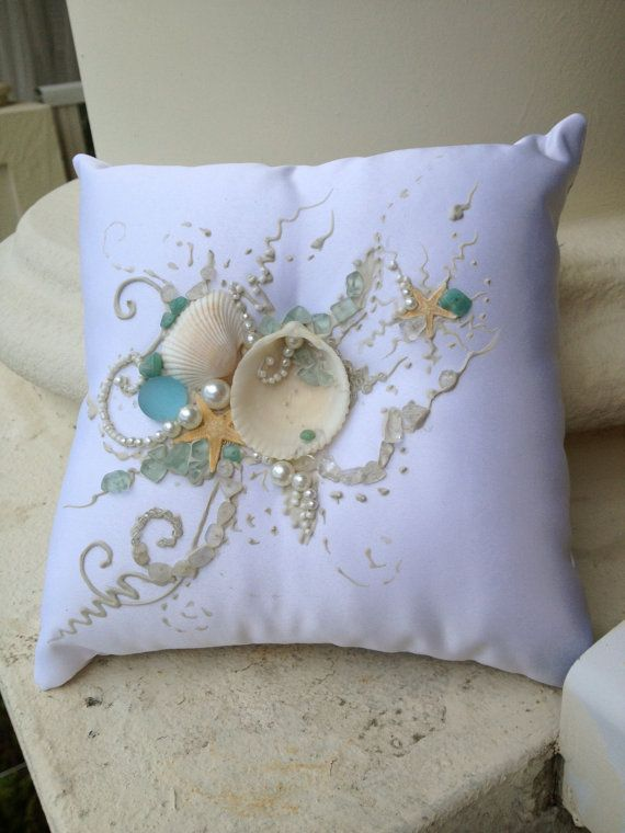 Beach Wedding Ring Bearer Pillow Starfish theme by PureBeautyArt