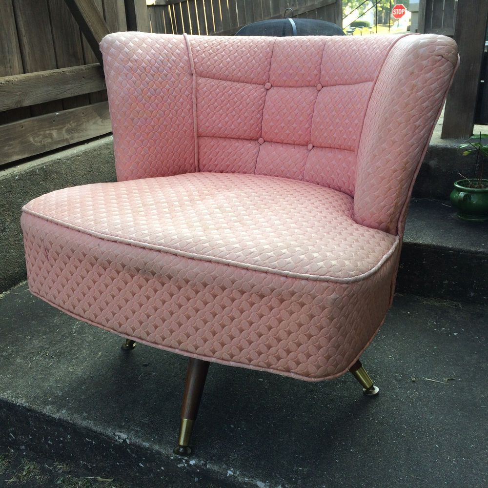 Affordable Retro Furniture: Vintage 50s Pink Mid Century Atomic Retro Barrel Swivel