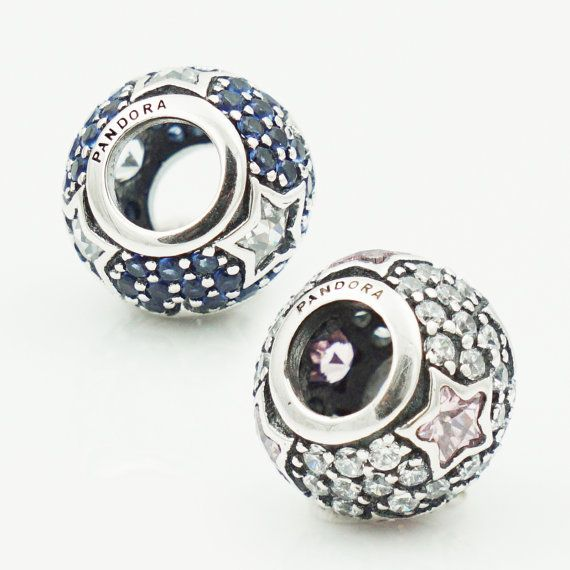 216809f8e Genuine Authentic Pandora Pavé Stars Charm in Midnight Blue or Pink (S925  ALE) packaged in original Pandora box. A twinkling, hand-finished