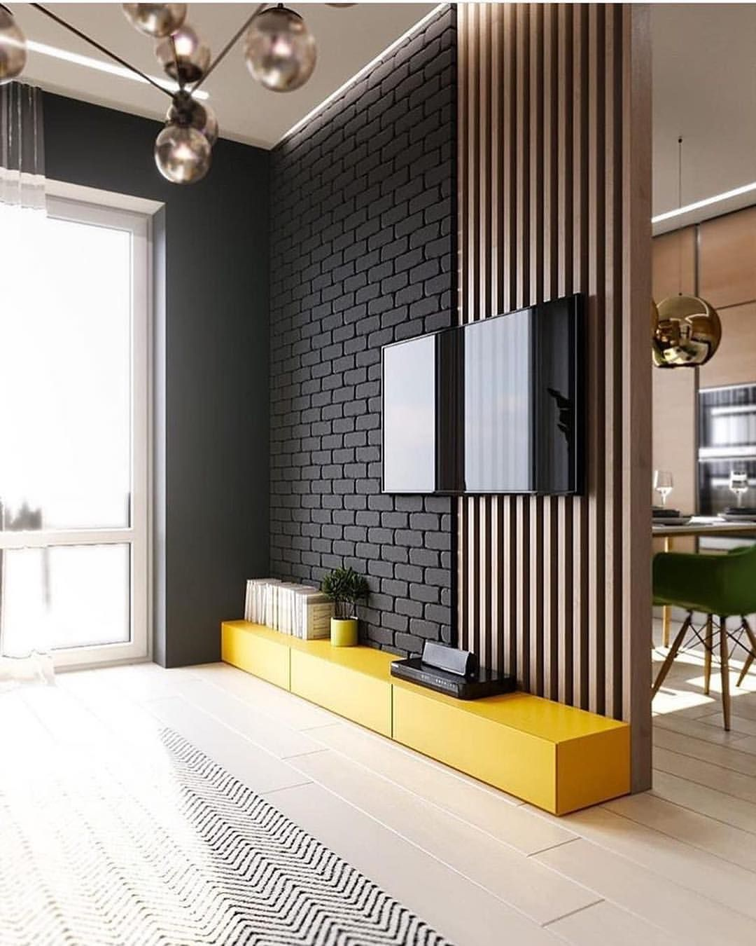 Painel de tv cheio estilo amo amarelo nos ambientes  voces por interiores dd confiram tambem also wonderful tricks room divider textile home portable ider rh pinterest