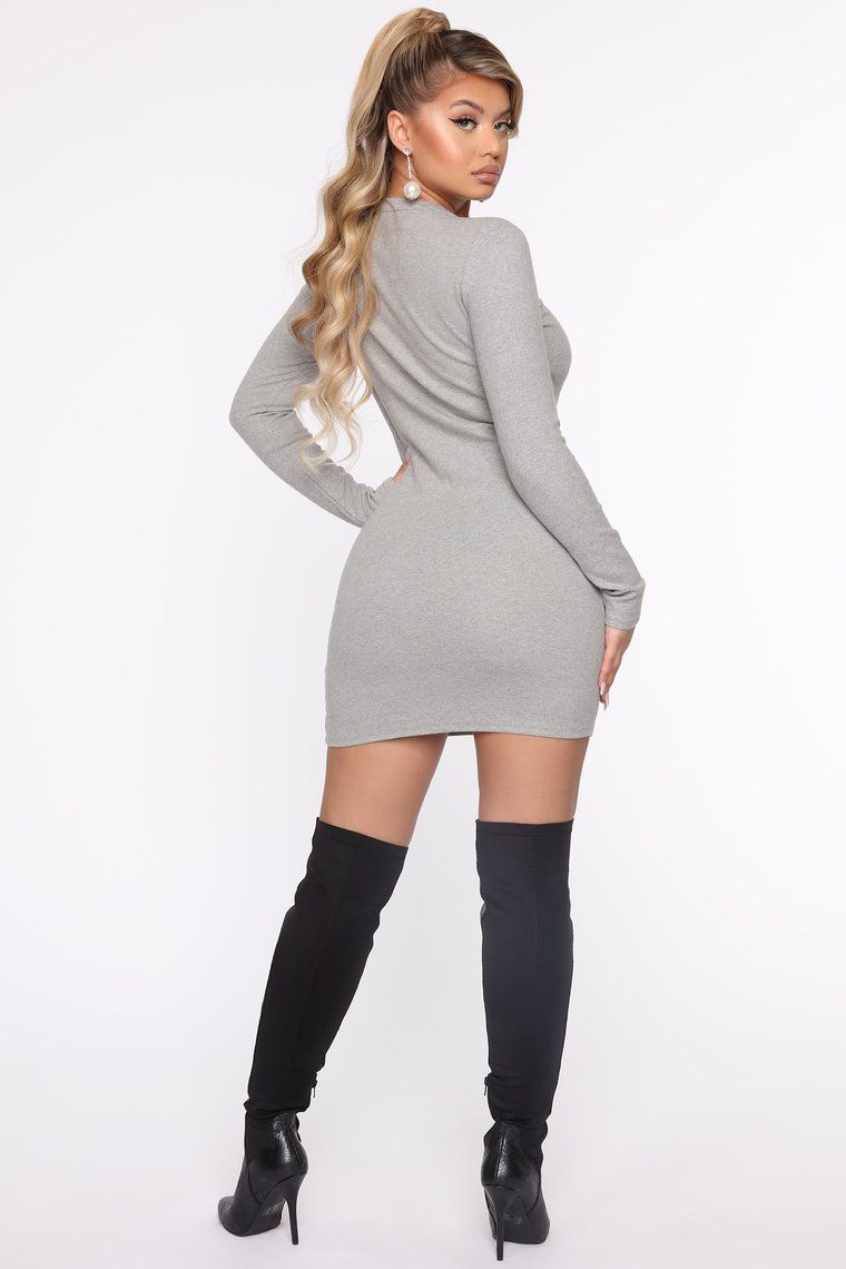 Try This Long Sleeve Mini Dress Heather Grey in 2020